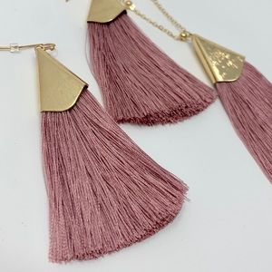 Jewelry - Mauve Tassel Earrings and Necklace Set